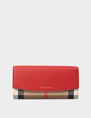 Burberry House Check Porter Flap Wallet in Russet Red Grained Calfskin