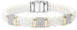 Lagos 'White Caviar' Three Station Diamond Bracelet