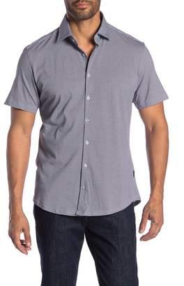 Stone Rose Honeycomb Print Short Sleeve Button Shirt