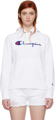 Champion Reverse Weave White Big Logo Hoodie