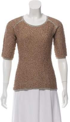 Dries Van Noten Metallic Bouclé Sweater Tan Metallic Bouclé Sweater