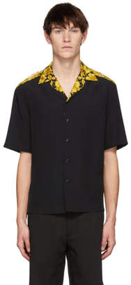Versace Black Brocade Printed Bowling Shirt