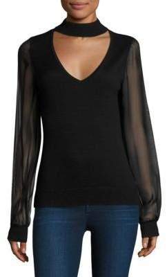 Ramy Brook Ashley Chiffon-Sleeve Choker Sweater