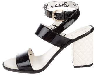 Chanel Patent Leather Ankle-Strap Sandals