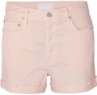 Mother The Improper Distressed Denim Shorts - Pink