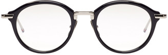 Thom Browne Navy & Silver Acetate Glasses $650 thestylecure.com