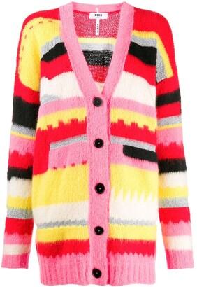 MSGM geometric knitted cardigan