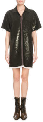 Chloé Short-Sleeve Split-Neck Sequined Polo Dress with Leather Trim