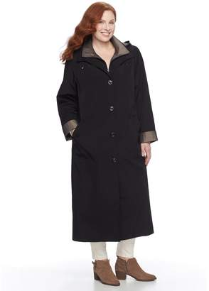 Gallery Plus Size Hooded Long Rain Jacket