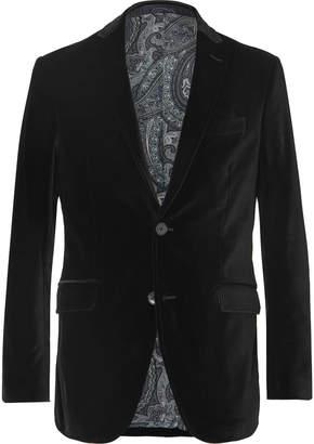 Etro Black Slim-Fit Stretch-Cotton Velvet Blazer