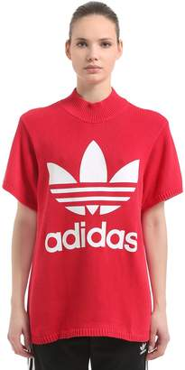 adidas Oversized Logo Print Heavy Knit T-Shirt