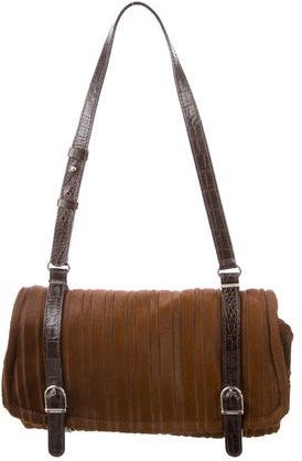 Trussardi Crocodile-Trimmed Ponyhair Bag