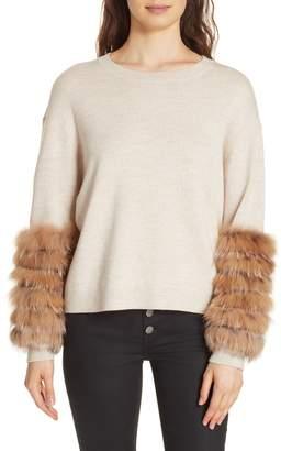 Alice + Olivia Shiela Genuine Fox Fur Cuff Sweater