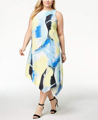 Alfani Plus Size Printed Asymmetrical-Hem Dress, Created for Macy's