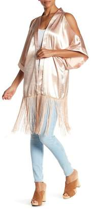 Steve Madden Pebble Satin Cold Shoulder Fringe Hem Kimono