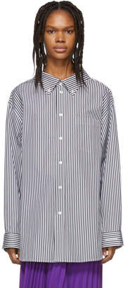 Balenciaga Black and White Swing Collar Shirt