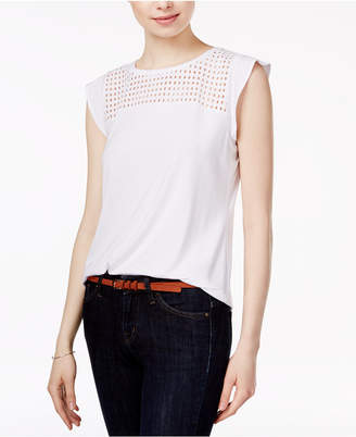 Maison Jules Flutter-Sleeve Eyelet-Detail Top, Only at Macy's $39.50 thestylecure.com