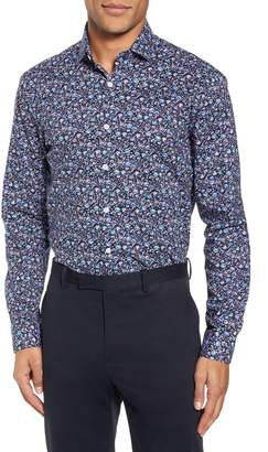 Duchamp Trim Fit Floral Dress Shirt