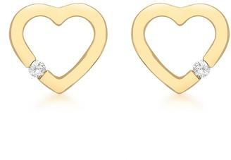 Love Diamond Love DIAMOND 9ct Gold Diamond Set Open Heart Stud Earrings