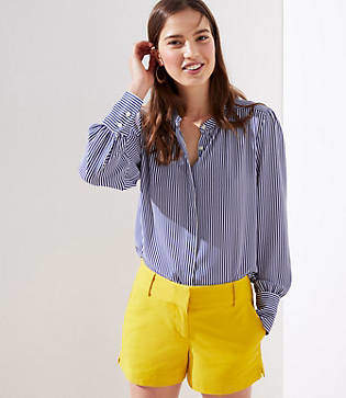 LOFT Striped Crossover Back Utility Blouse