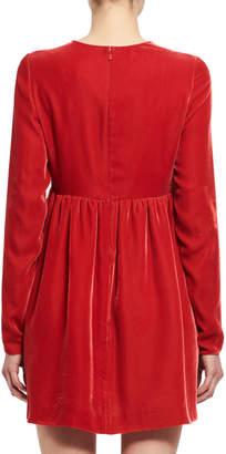 Chloé Long-Sleeve Velvet Heart-Cutout Minidress, Red