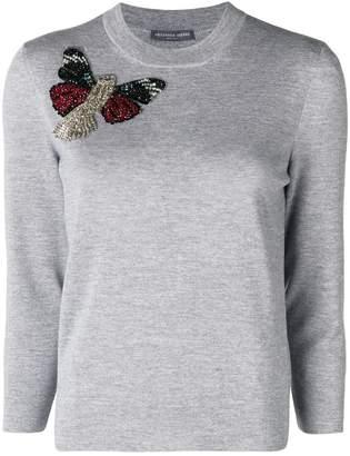 Alexander McQueen embellished butterfly jumper