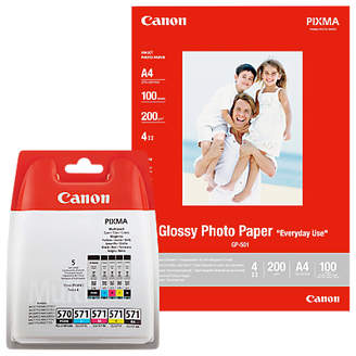 Canon PGI-570/CLI-571 Cyan, Magenta, Yellow, Pigment Black & Black Ink Cartridge Multipack, Pack of 5 with GP-501 Glossy Photo Paper, 10 x 15cm, 10 Sheets