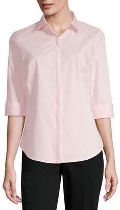 Liz Claiborne Womens 3/4 Sleeve Blouse