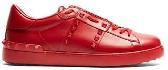 Valentino Open Rockstud Low Top Leather Trainers - Mens - Red Multi