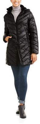 Big Chill Women's Long Chevron-Quilt Hooded Down Blend Coat