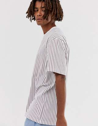 Brooklyn Supply Co. Brooklyn Supply Co relaxed t-shirt with vertical red stripes in white