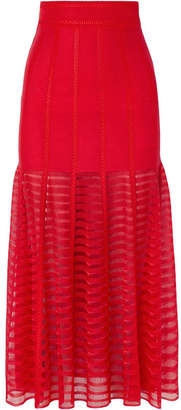 Alexander McQueen Paneled Lace And Open-knit Midi Skirt - Red