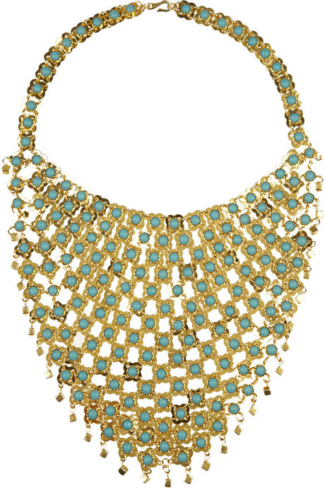Dannijo Gold-plated bead-embellished bib necklace