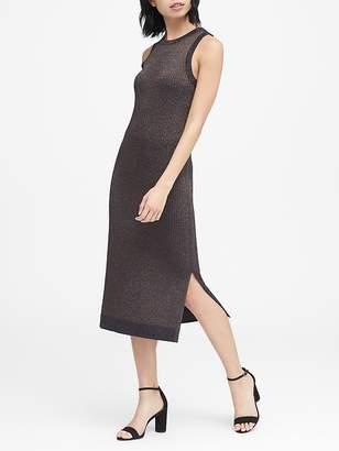 Banana Republic Petite Metallic Ribbed-Knit Dress