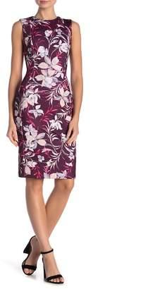 Modern American Designer Floral Crew Neck Shift Dress