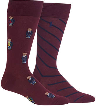 Polo Ralph Lauren Men's 2-Pk. Preppy Bears Dress Casual Socks