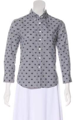 Band Of Outsiders Dobby Polka Dot Button-Up Top w/ Tags