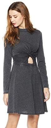 Rebel Canyon Young Womens Long Sleeve Burn Out Jersey A-line Dress with Knot Detail Front