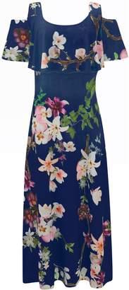 69dfdf44f Evans   Grace Navy Blue Cold Shoulder Maxi Dress