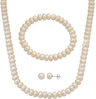 Pearlustre By Imperial PearLustre by Imperial Freshwater Cultured Pearl Necklace, Stretch Bracelet & Stud Earring Set