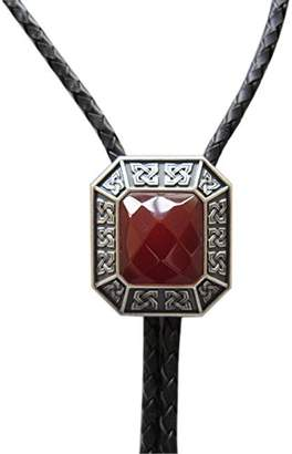 Celtic JEAN'S FRIEND Vintage Silver Plated Red Agate Octagon Stone Bolo Tie Leather Necklace