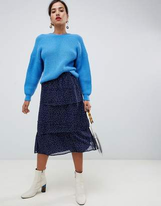 Vila polka dot tiered midi skirt