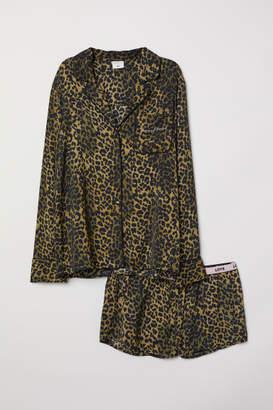 H&M Patterned Satin Pajamas - Green