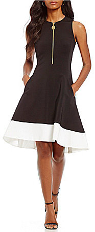 DKNY DKNY Colorblock Fit-and-Flare Dress