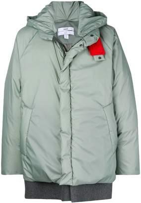 Oamc hooded midi padded coat