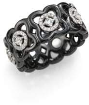 De Beers Moonlight Enchanted Lotus Diamond, 18K White Gold& Black Ceramic Band Ring