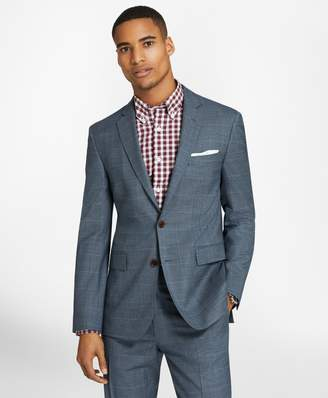 Brooks Brothers Windowpane Two-Button Wool Twill Suit Jacket