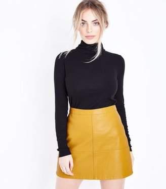 New Look Petite Yellow Leather-Look Mini Skirt