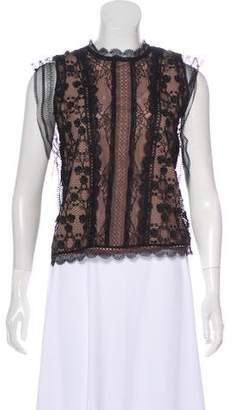 Alexis Sleeveless Lace-Accented Blouse