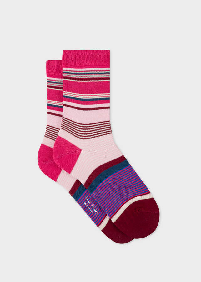 Women's Pink Block-Stripe Socks